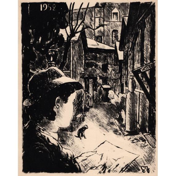 Georges Joubin - Lithographie - Le Bateau Lavoir à Montmartre