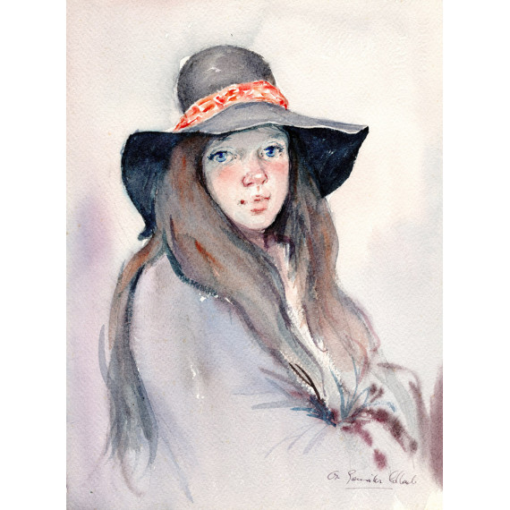 The young girl with the hat