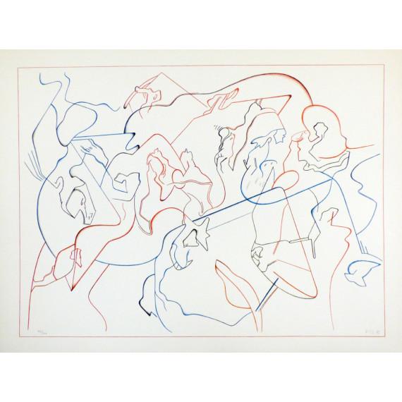 Jan VOSS - Lithographie - Modern Jazz Quartet 1975