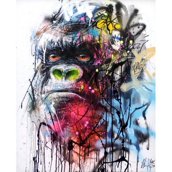 Urban  Gorilla IV by-henry-blache-sax-street-urban-art