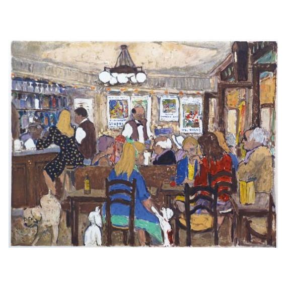 Marko Stupar - Lithographie - Paris, Intérieur du Café Select