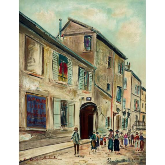 Maurice Utrillo - Affiche originale en lithographie Mourlot Pétridès 1966 - Musée de Montmartre rue Cortot