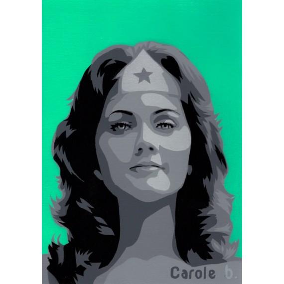 Wonder Woman ! Pochoir unique ( Lynda Carter ) N8