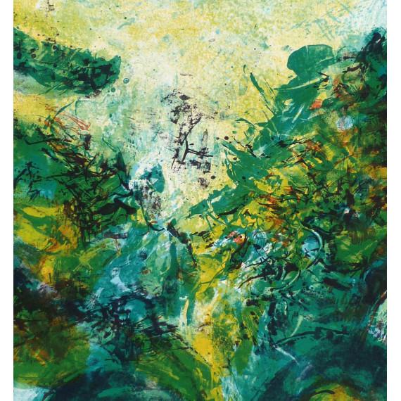 Composition abstraite en vert