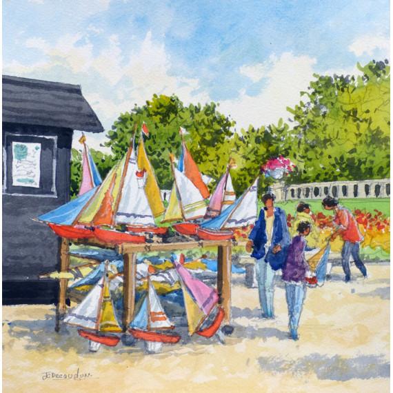 Le loueur de bateau dans le parc parisien