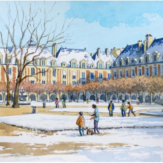 Le Jardin, Place des Vosges, Paris, en hiver