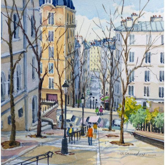 Les escaliers de  la rue Chappe à Montmartre, Paris