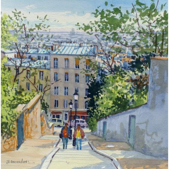 Les escaliers de la rue du Calvaire à Montmartre, Paris